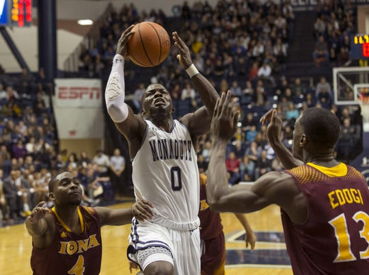 Monmouth's Ray Salnave drives to basket against Iona on January 19, 2018.