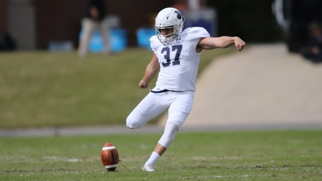 Monmouth kicker Matt Mosquera, shown kicking off on Saturday, was named Big South Special Teams Player of the Week for booting a 49-yard field goal.