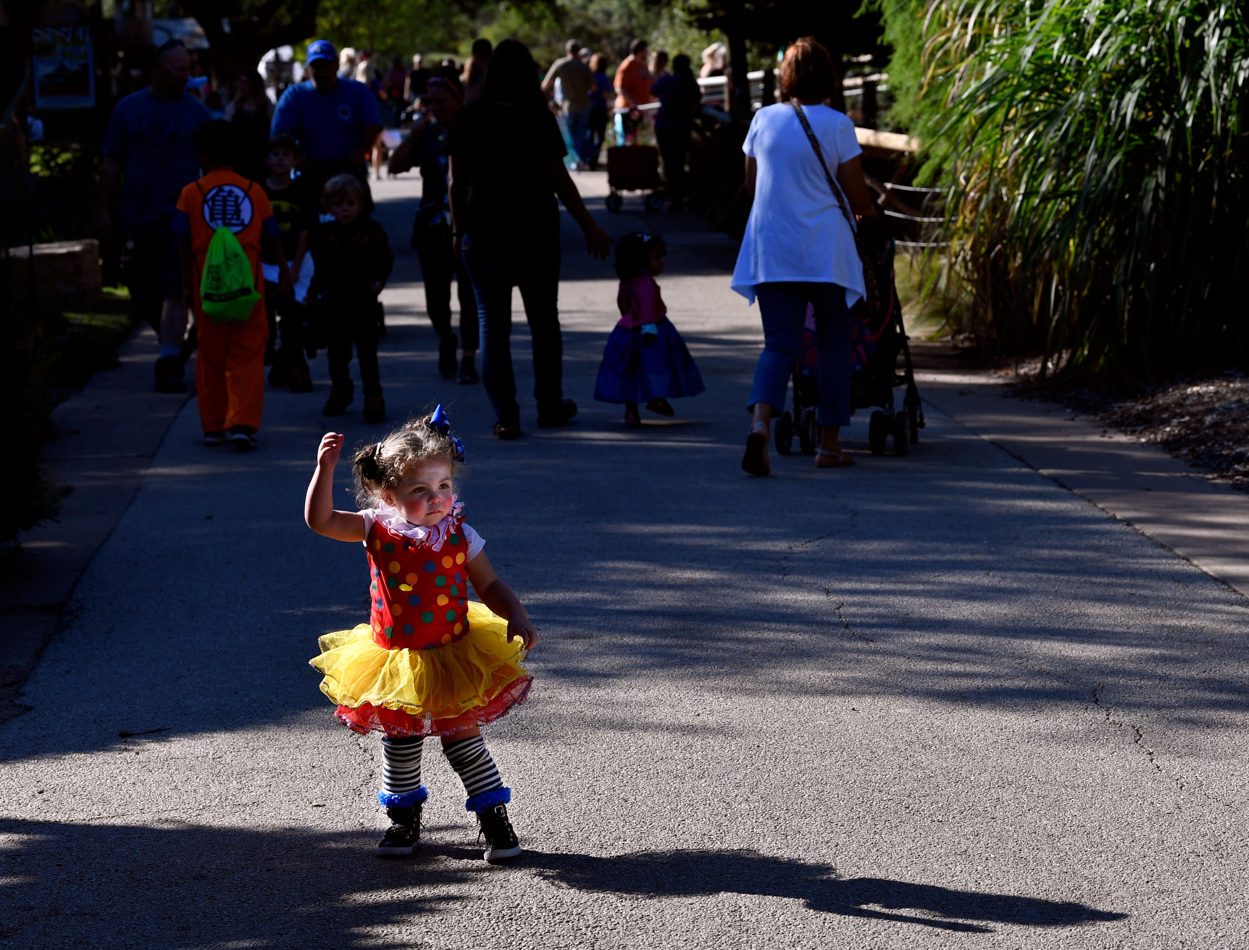 Nola Aldridge, almost 2 years old, stops momentarily to strike a pose in her clown costume Saturday during Boo at the Zoo. The Halloween tradition is the Abilene Zoo's biggest fundraiser of the year.