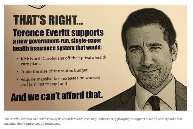 An example of advertising paid for by the North Carolina Republican Party in the 2018 general election cycle.