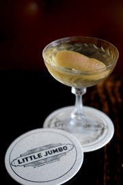 The Matador at Little Jumbo is tequila, dry vermouth, orange Liqueur and orange bitters.