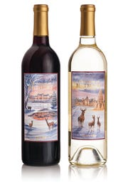 The labels on this year's Biltmore Estate Christmas wines were designed by Asheville artist Bryan Koontz.