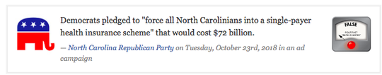 Ruling of the North Carolina Fact-Checking Project on NC Republicans' campaign claims.