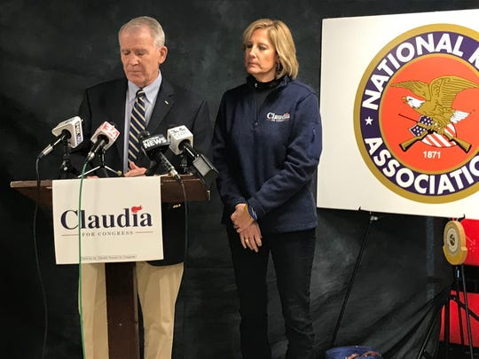 NRA President Lt. Col Oliver North endorsed Republican Congressional Candidate Claudia Tenney at the Binghamton Rifle Club before the 2018 election.