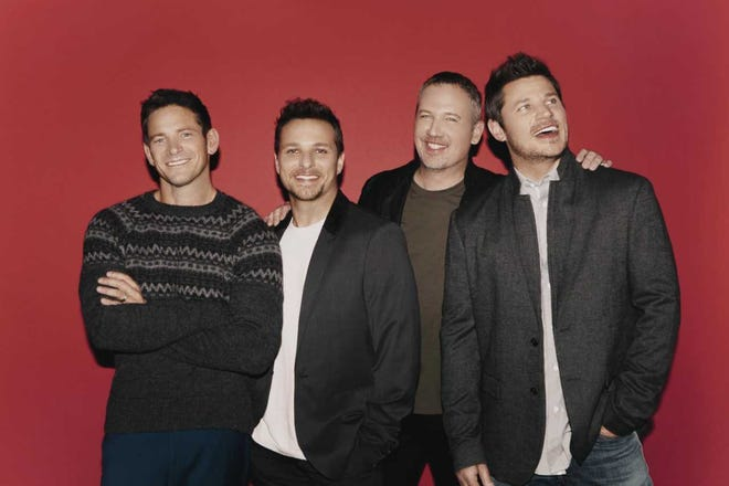 From left, 98 Degrees are Jeff Timmons, Drew Lachey, Justin Jeffre and Nick Lachey.