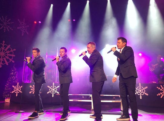 Holiday music and hits are on the set list for the Admiral Theatre visit by 98 Degrees — from left, Jeff Timmons, Drew Lachey, Justin Jeffre and Nick Lachey.