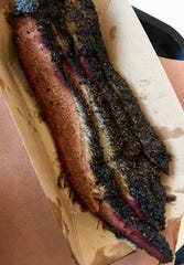 The brisket at Stoney's was delicious: lean and peppery-crusty, clearly prepared with first-rate meat.