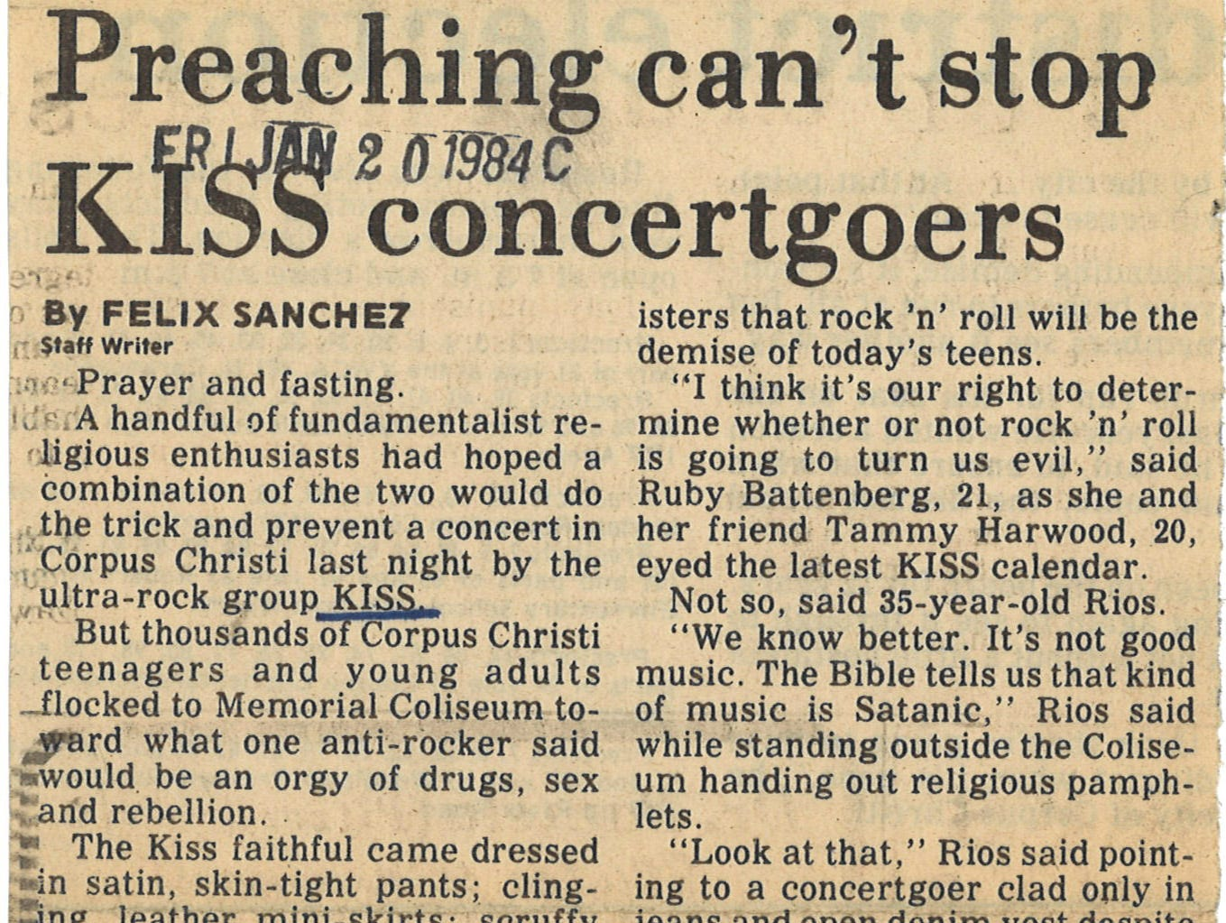 An article from the Jan. 20, 1984 Caller-Times about KISS concert protests.