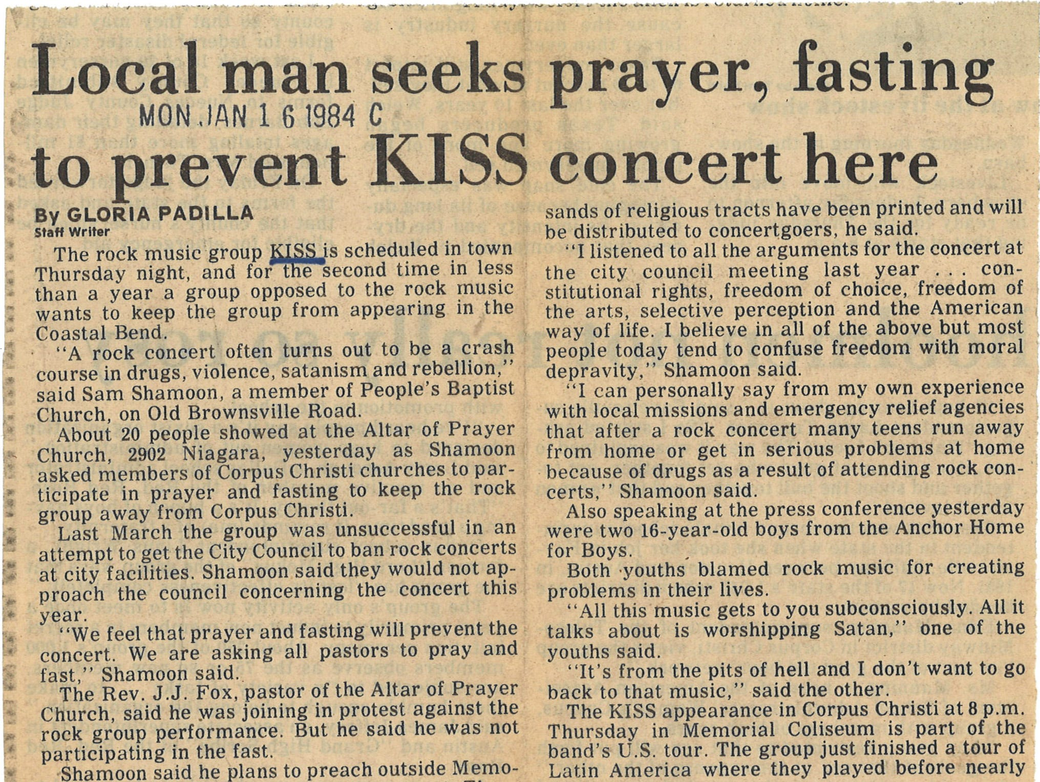 A clipping from the Corpus Christi Caller-Times on Jan. 16, 1984 about a local man protesting KISS concert.