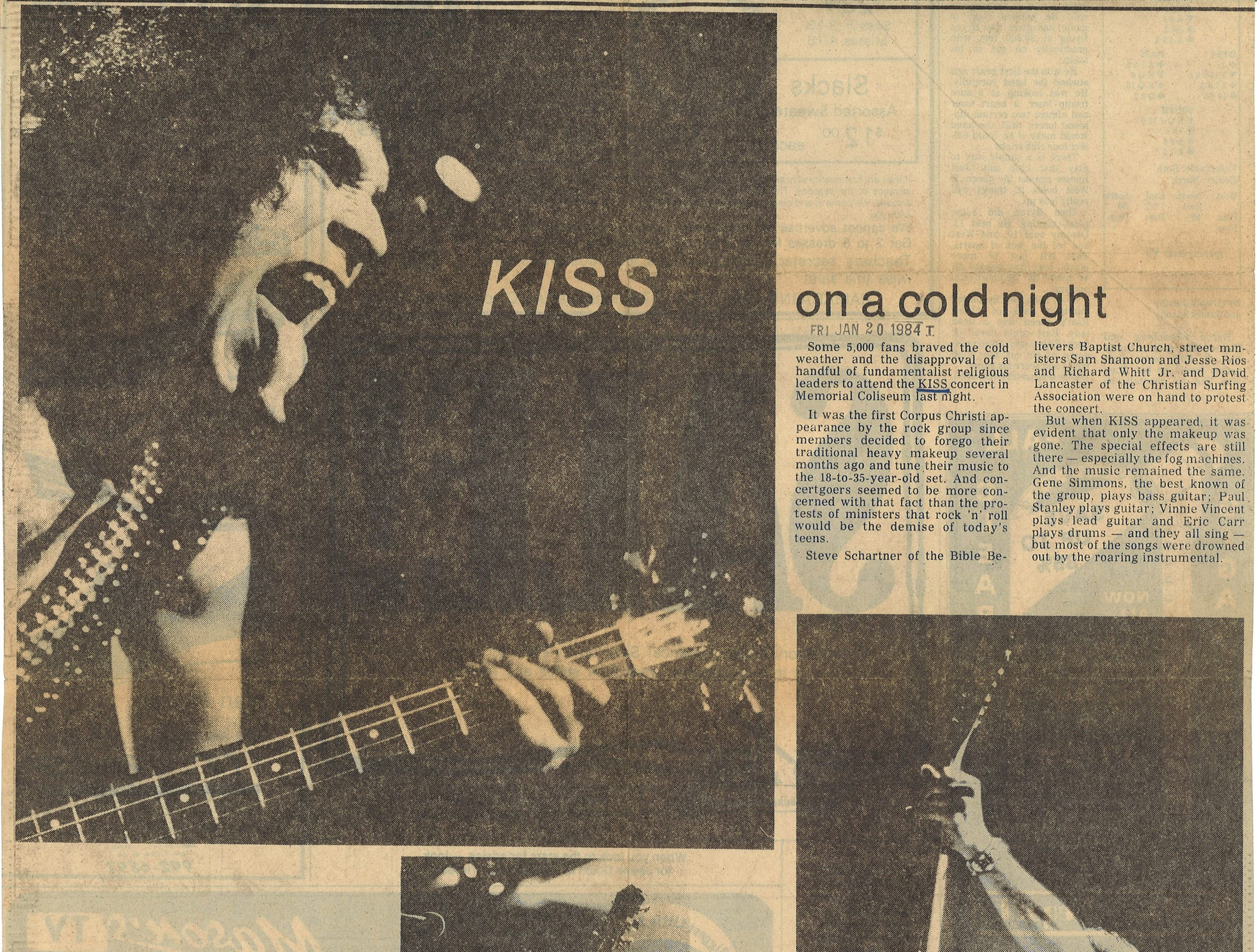 Coverage of KISS concert at Memorial Coliseum in Caller-Times on Jan. 20, 1984.