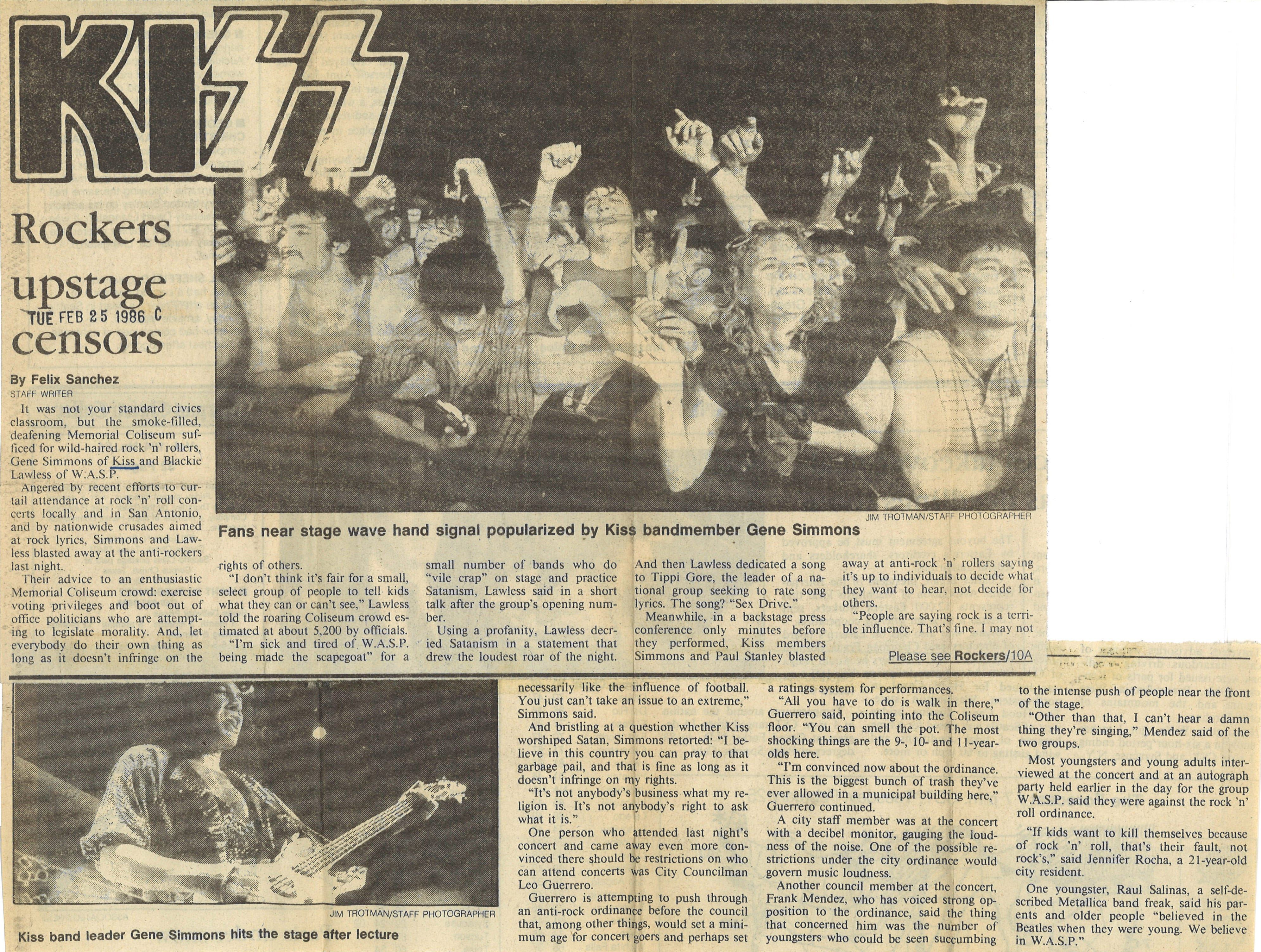 A Caller-Times article on KISS concert at Memorial Coliseum from Feb. 25, 1986.