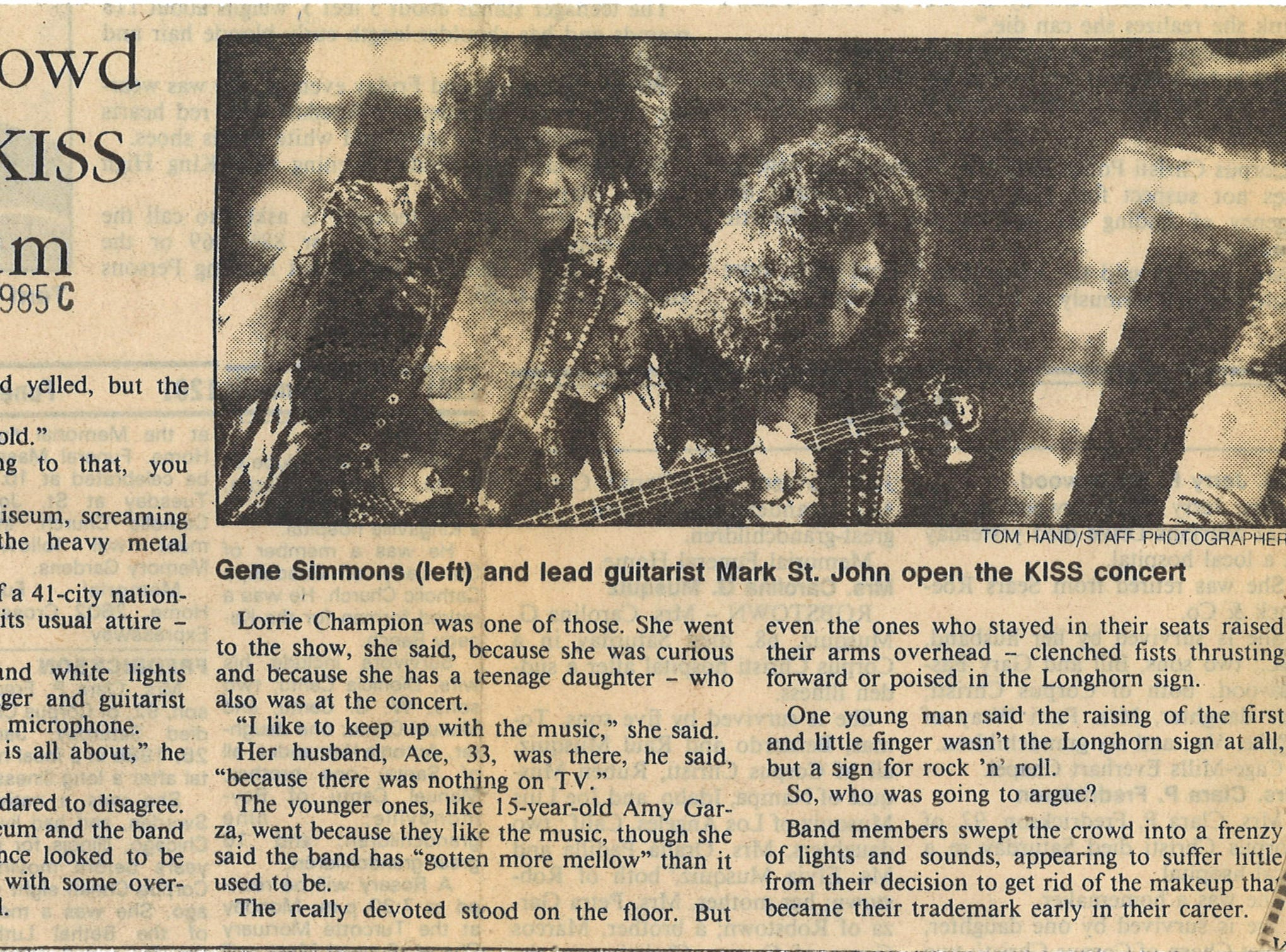 A Corpus Christi Caller-Times articles from Jan. 28, 1985 on KISS concert at Memorial Coliseum.