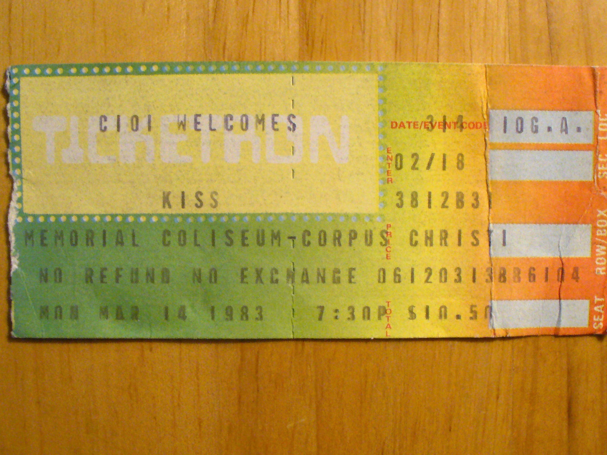 Jaime Zamora shared copies of tickets from the many concerts he attended at Memorial Coliseum with the Caller-Times in 2010. This ticket was for the March 14, 1983 KISS concert