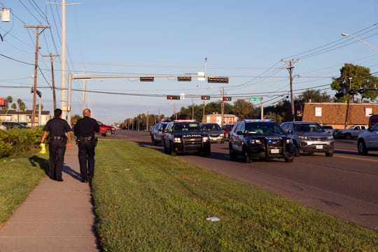 Police with the Corpus Christi Police Department respond to an accident in which an 11-year-old boy was hit by a vehicle on Holly Road on Monday, October 29, 2018. The boy crossed the road at an area without a crosswalk and the driver's view was obstructed by the sun, the driver stopped to render aid and was not cited. The boy was transported to Driscoll Children's Hospital with unknown injuries.