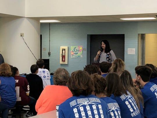 Superintendent Sharon McKinney speaks at Brundrett Middle School on Oct. 29, 2018 to announce a more than $1.2 million FEMA grant for Port Aransas ISD.