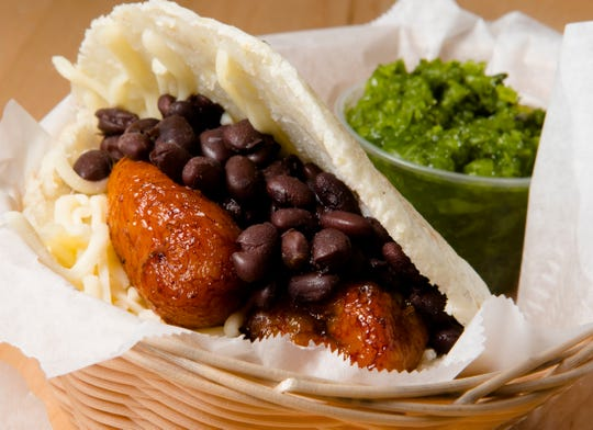 """""""The Vegetarian Arepa"""" at The Arepa Place at Findlay Market in Over the Rhine on Friday, Oct. 26, 2018."""