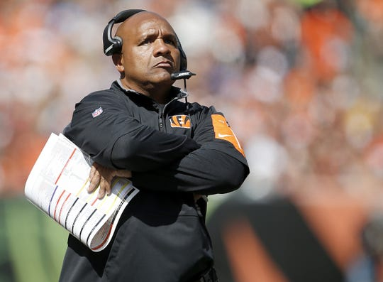 Cincinnati Bengals offensive coordinator Hue Jackson paces the sidelines in the second quarter during the NFL game between the San Diego Chargers and the Cincinnati Bengals, Sunday, Sept. 20, 2015, at Paul Brown Stadium, in Cincinnati, Ohio.