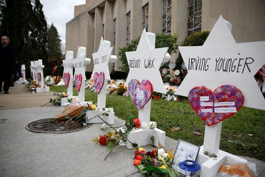 Names of the victims in the mass shooting at Tree of Life Congregation Synagogue at a memorial outside of the synagogue in the Squirrel Hill neighborhood of Pittsburgh Monday, October 27, 2018.