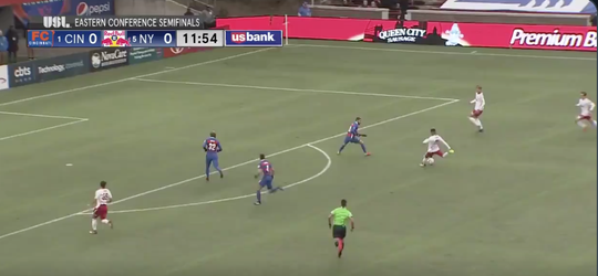 A screen grab of a New York Red Bulls II counterattack on which the deciding goal was scored in an Eastern Conference semifinal match against FC Cincinnati.