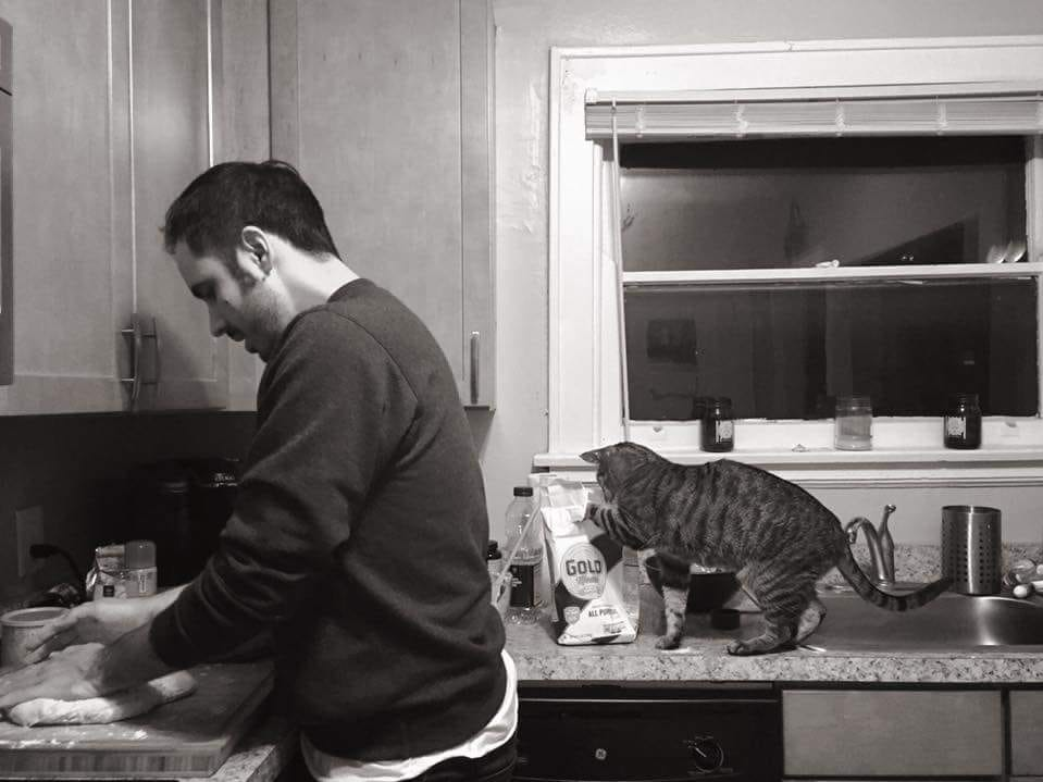 Sam Greene says Tiny Pete is an excellent sous chef, particularly when it comes to baking.