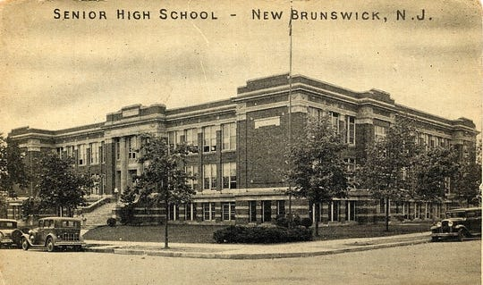 The former New Brunswick High School as it appeared in the 1930s and 1940s.