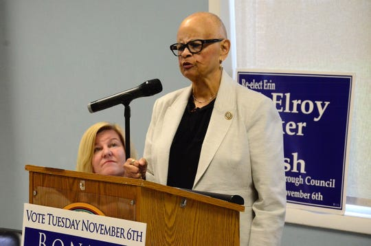 With Fanwood Mayor Colleen Mahr looking on, Congresswoman Bonnie Watson Coleman was the keynote speaker at a Democratic town hall at Forest Road Park in Fanwood on Sunday, Oct. 28.