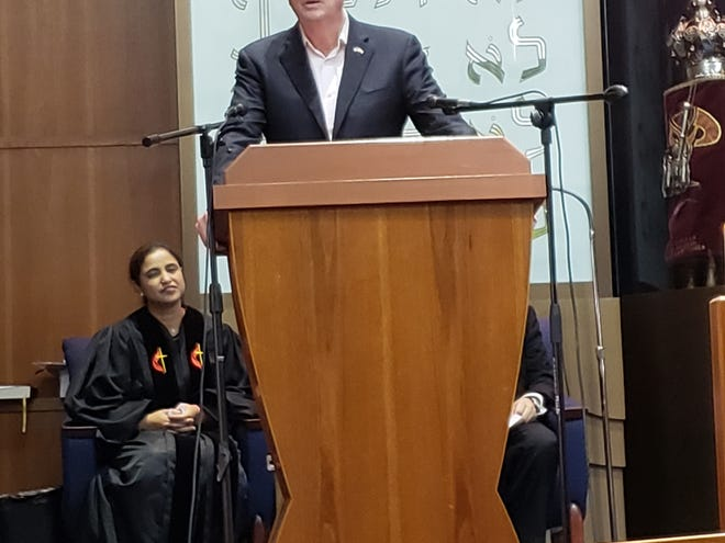 """Coming together as a sign of support and unity, more than 600 residents,community and faith leaders, including Gov. Phil Murphyparticipated in an interfaith community gathering called """"Together for Pittsburgh — Rising Against Hatred"""" at Neve Shalom in Metuchen."""