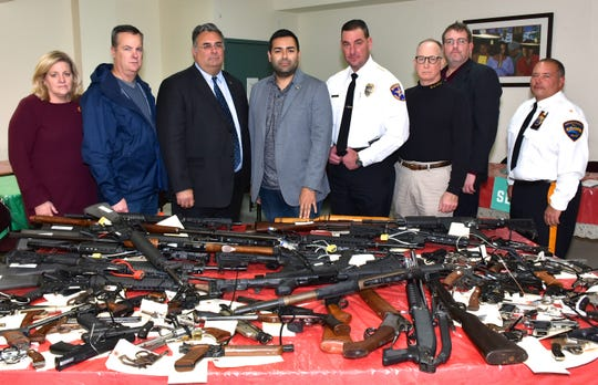 Union County Freeholder Chairman Sergio Granados and Freeholder Alexander Mirabella joined Acting Union County Prosecutor Michael Monahan, Union County Sheriff Peter Corvelli, Union County Public Safety Director Andrew Moran, Union County Police Chief Chris Debbie, Union County Manager Ed Oatman and Deputy Manager Amy Wagner at the Union County Gun Buyback event at the Macedonia Baptist Church in Elizabeth.