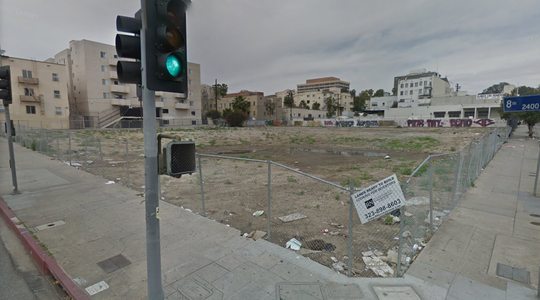 The lot where a building once stood at 2411 W. Eighth St. in Los Angeles can be seen in this February 2017 image on Google Maps.