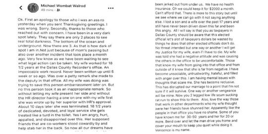 Michael Walrod, an Independent candidate for Dallas County supervisor, posted this on Facebook last year after his wife was fired from the Dallas County Recorder's Office. County Recorder Chad Airhart believes the post, obtained by the Register through an open records request, is threatening to him and his employees.