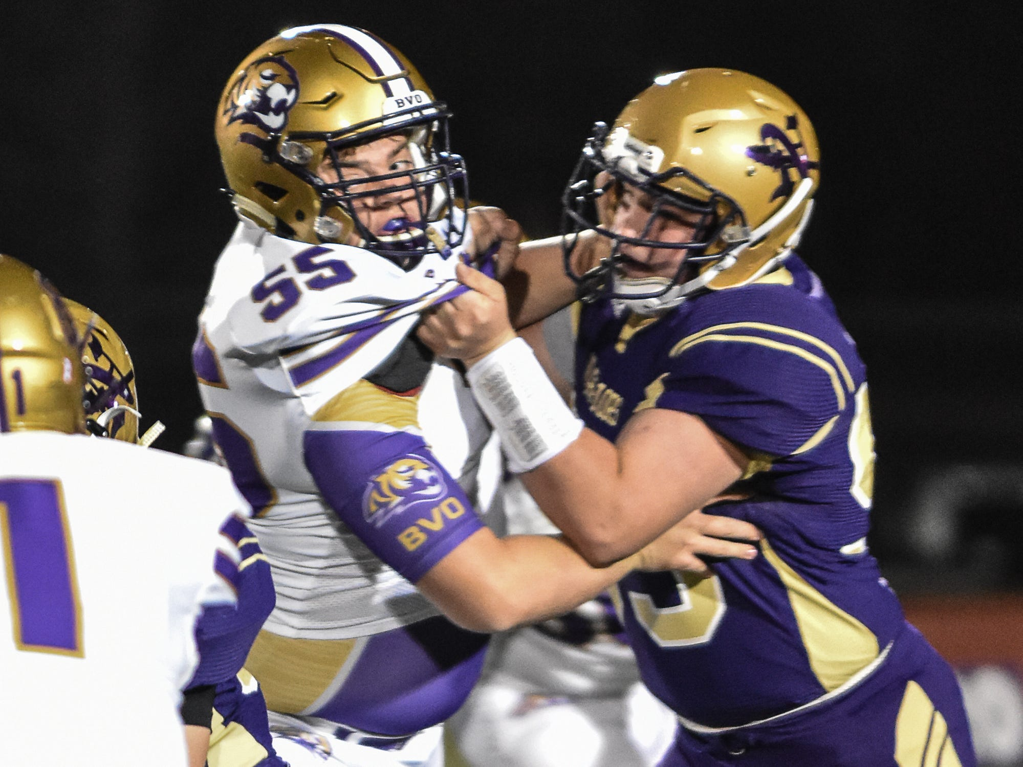 Norwalk's Caleb Greenslit  blocks Spender's Ryan VerMulm during a first-round playoff game Friday in Norwalk. Spencer ended Norwalk's season Oct. 26, 2018, with a 24-20 win in the first round of the Class 3A playoffs.