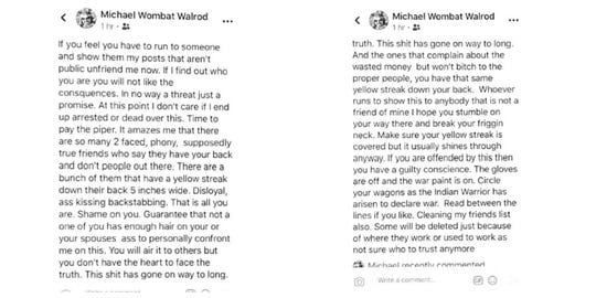 Michael Walrod, an Independent candidate for Dallas County supervisor, posted this on Facebook last year after his wife was fired from the Dallas County Recorder's Office. The Register obtained screenshots of the since-deleted posts through a public records request.
