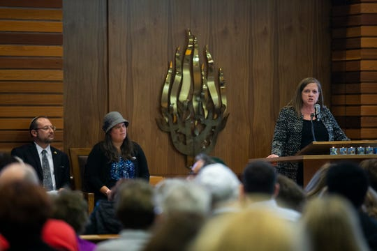 Connie Ryan, Executive Director of the Interfaith Alliance of Iowa, speaks during a vigil and memorial service for the Tree of Life Synagogue in Pittsburgh, Pennsylvania and to show support for the Jewish community in the Des Moines area, on Monday, Oct. 29, 2018, at the Tifereth Israel Synagogue in Des Moines.