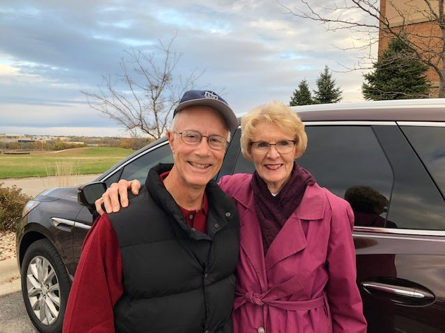 Bernie and Pam Burrier on the road in their new 2019 Buick Enclave.