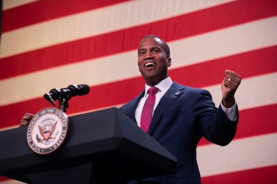 U.S. Senate candidate John James gives a speech at the rally.