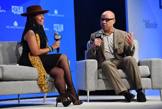 """Performance artist Jessica Care Moore talks with Darren Walker, president of the Ford Foundation on the subject, """"The Power of the Arts."""""""