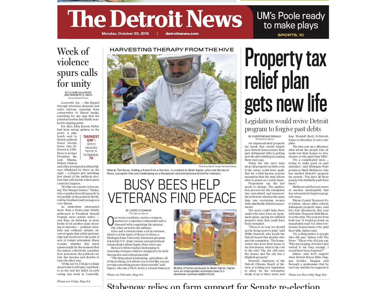 The front page of The Detroit News on October 29, 2018.