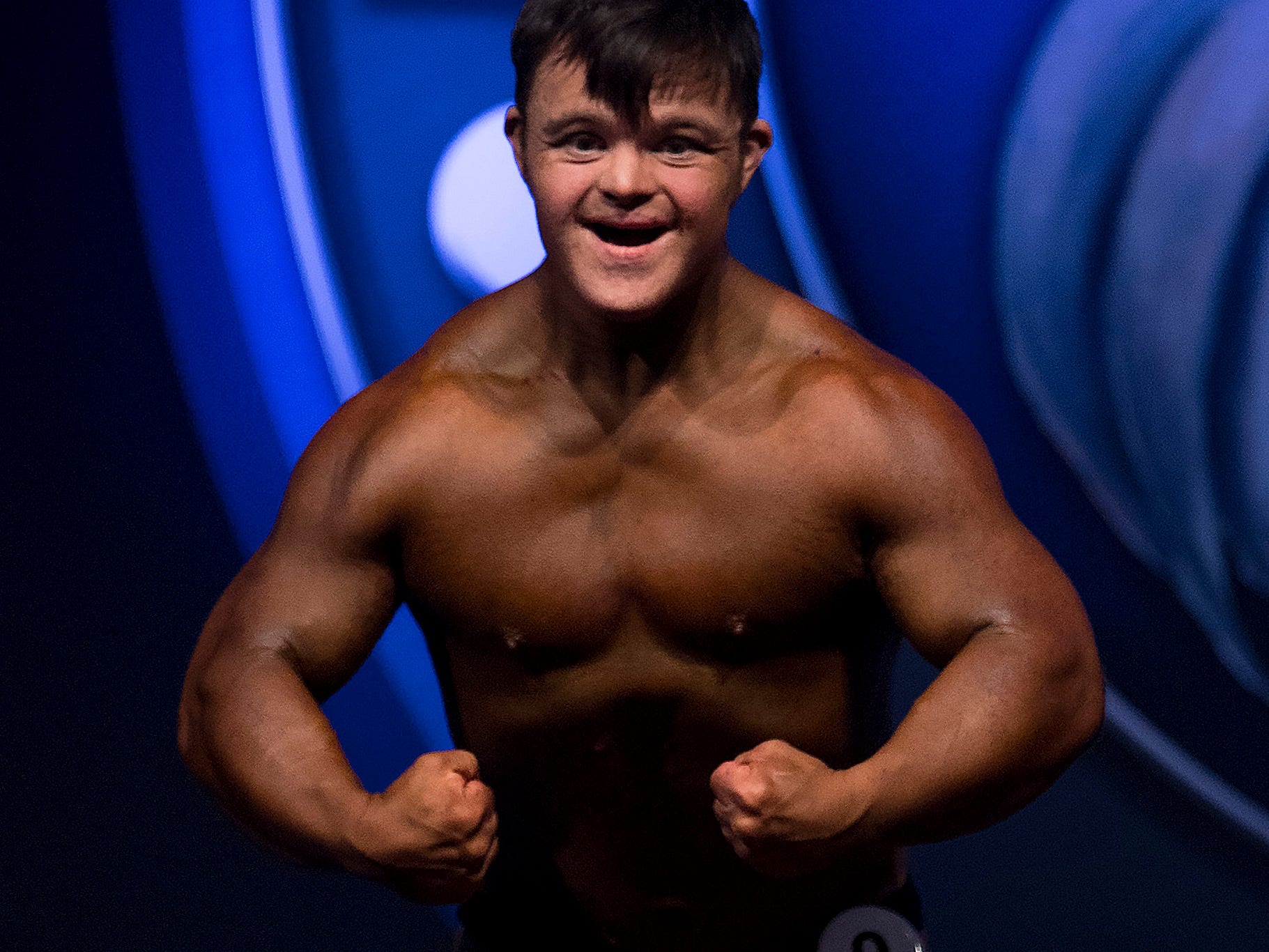 Collin Clarke of Evansville, Ind., competes in Kentucky Muscle's novice bodybuilding lightweight competition at the Kentucky International Convention Center in Louisville, Ky., Oct. 20, 2018. Clarke took second place in the competition and is already back at the gym getting ready for Indiana Muscle in March of 2019.
