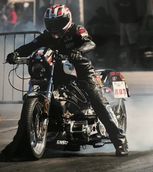 """Evansville's Dave """"Paco"""" Cartwright prepares to ride a stock frame Harley Davidson nearly 150 mph at Rockingham Dragway in North Carolina."""