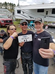 "John Tooth (left) and Evansville's Dave ""Paco"" Cartwright (Center) pose with a plate for winning the AMRA Hot Street points standings."