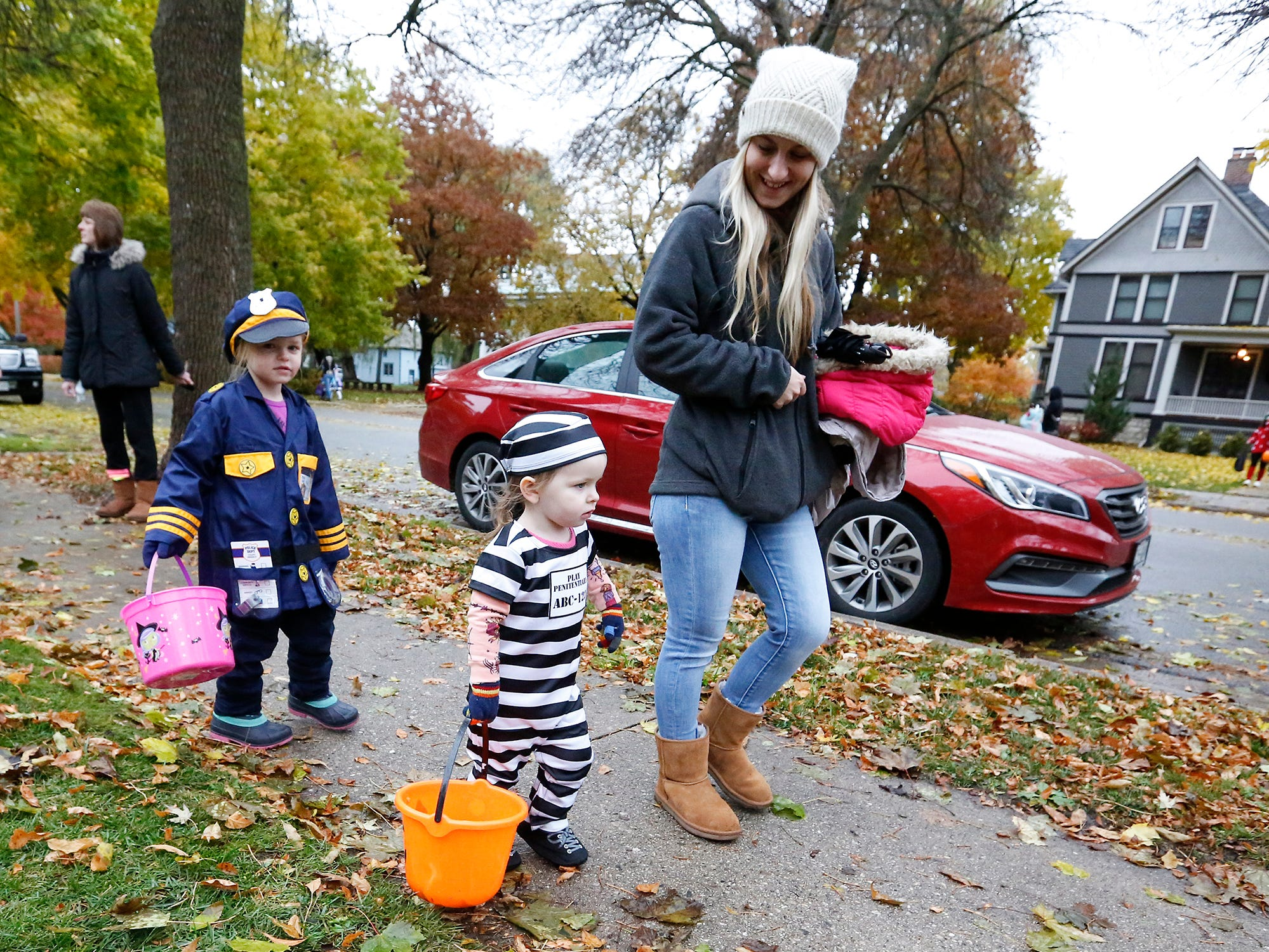 Nevaeh, Nalana and Natasha Potratz of Fond du Lac  were out trick or treating Sunday, October 28, 2018 in Fond du Lac, Wisconsin. Doug Raflik/USA TODAY NETWORK-Wisconsin