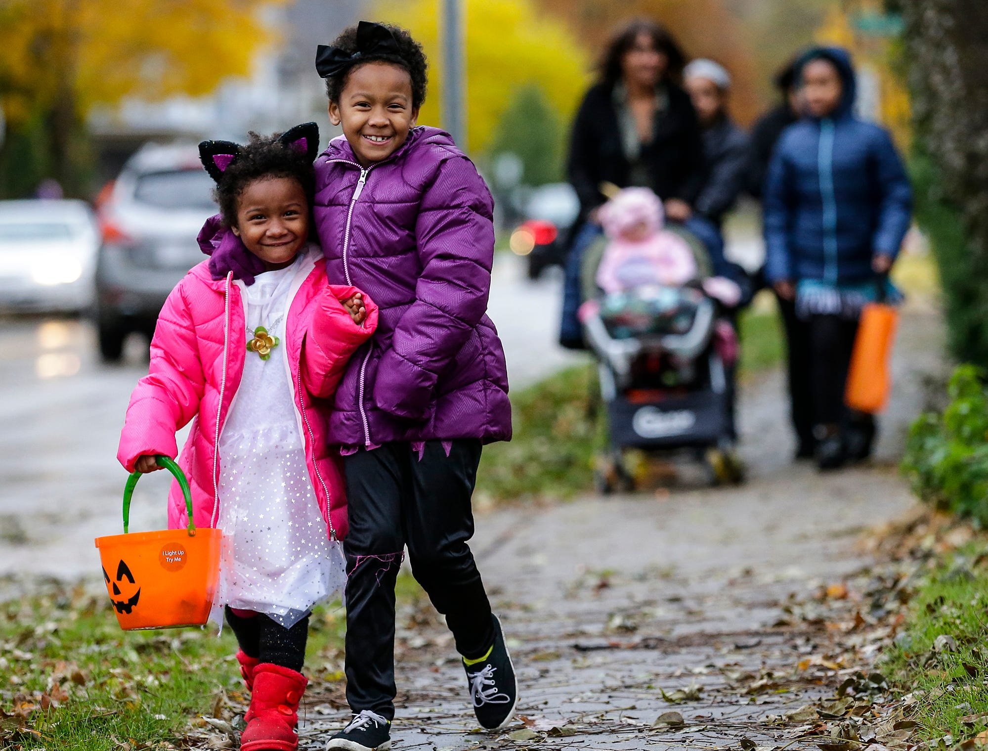 Sabrina and Anieona Jefferson of Fond du Lac were out trick or treating Sunday, October 28, 2018 in Fond du Lac, Wisconsin. Doug Raflik/USA TODAY NETWORK-Wisconsin
