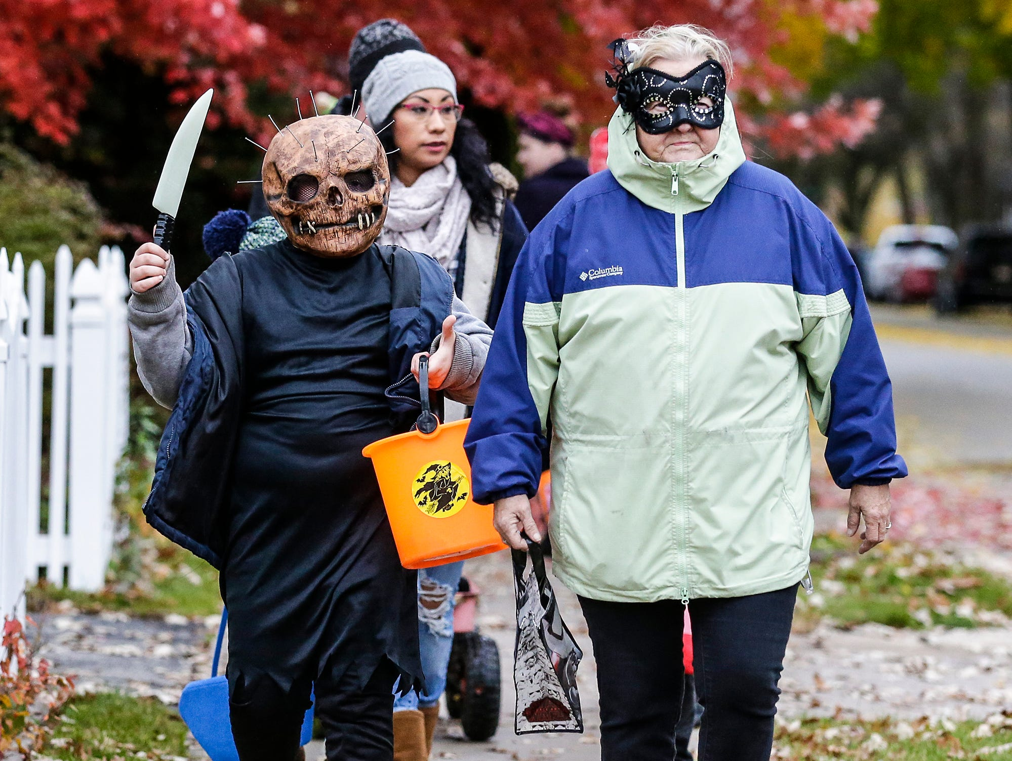 Dilan and Fran Meilahn of Fond du Lac were out trick or treating Sunday, October 28, 2018 in Fond du Lac, Wisconsin. Doug Raflik/USA TODAY NETWORK-Wisconsin