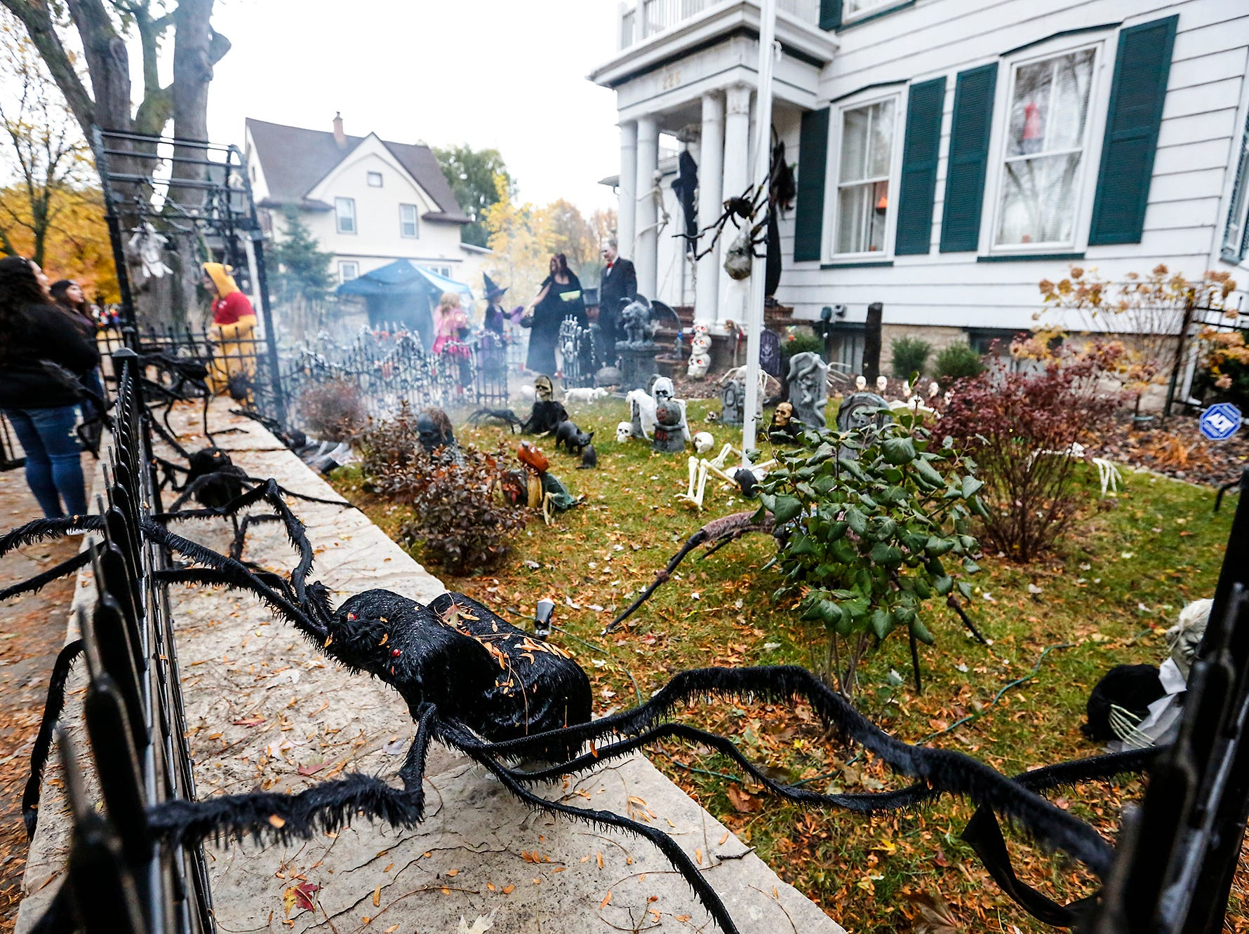 A decorated yard greeted trick or treaters Sunday, October 28, 2018 during trick or treat in Fond du Lac, Wisconsin. Doug Raflik/USA TODAY NETWORK-Wisconsin