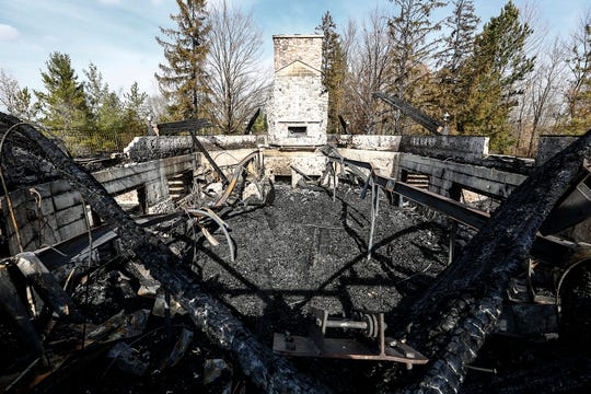 Fire destroyed the Our Lady of the Vista church Wednesday, October 24, 2018 at the Camp Vista retreat near Dundee, Wisconsin. The spot is home to a summer camp for Polish-American kids as well as other Christian groups. Doug Raflik/USA TODAY NETWORK-Wisconsin