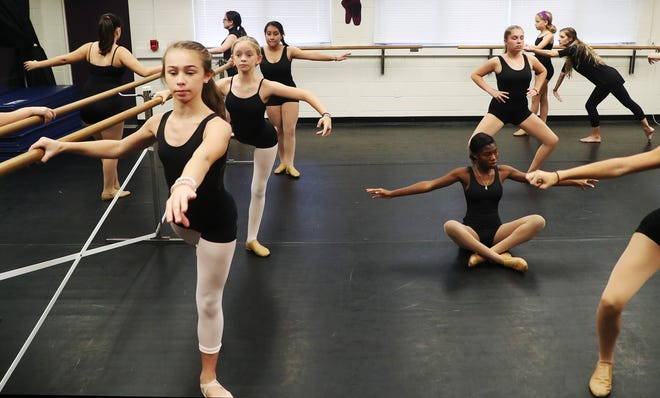 Sarah Thornburg, top right, the dance teacher at Cypress Lake Middle School, teaches one of her classes on Monday, Oct. 29, 2018. There is discussion about tearing down the school because of small classrooms and severe maintenance issues.