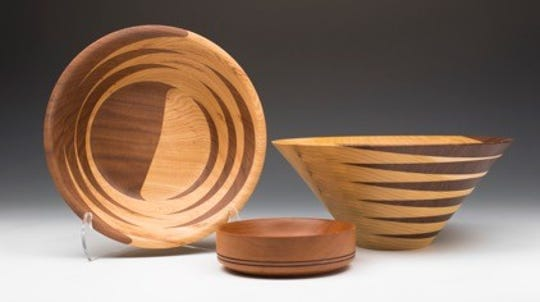 Wood-turned bowls by Ed Brogan, one of the artists featured in the Pottery and Wood show Nov. 3 at Plum Bottom Pottery & Gallery.