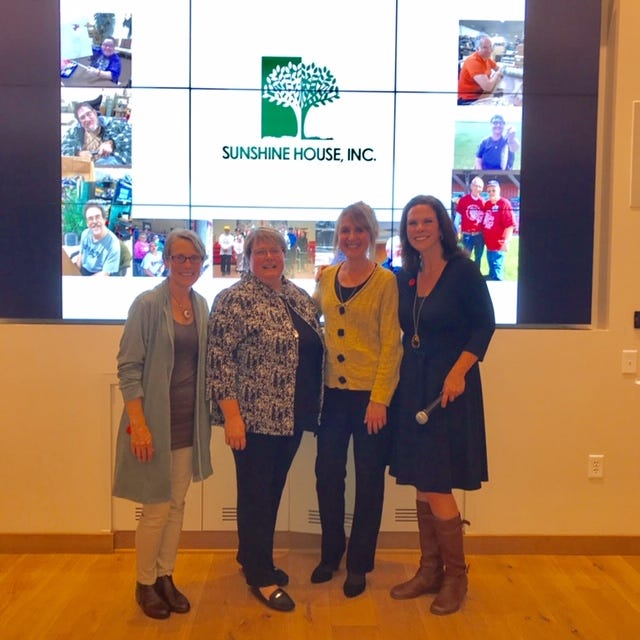 Pictured, from left, are: Ann Morgan, co-founder of Northern Door 100+ Women Who Care; Cindy Weber, CEO Sunshine House, Natalie Gorchynsk, presenter; and Peggy Reineck, co-founder of Northern Door 100+ Women Who Care.