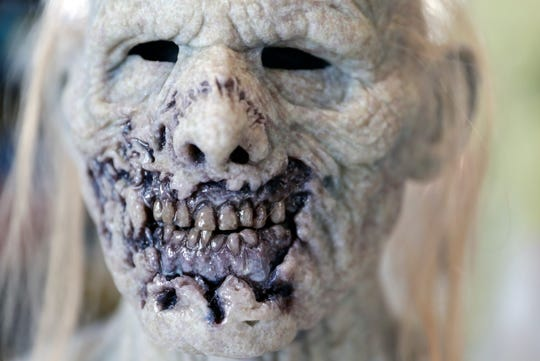 A completed silicone zombie mask created at The Basement FX in Milwaukee.