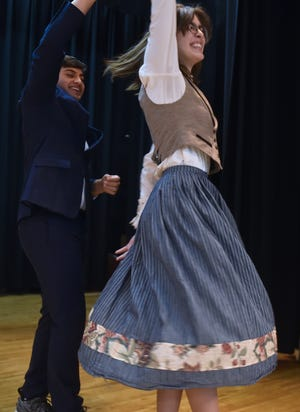 """Capt. von Trapp (played by Manav Jandu) and Maria (Natalie Meikle) dance an Austrian laendler dance in a rehearsal scene from Sevastopl High School's production of """"The Sound of Music."""" The classic musical runs Friday through Sunday at the school."""